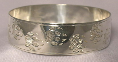 "Silver Bracelets - BS23 - 3/4""- Wolfpaw wide Bangle"