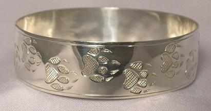 "Silver Bracelets - BS23 - 3/4""- Wolfpaw wide Bangle"
