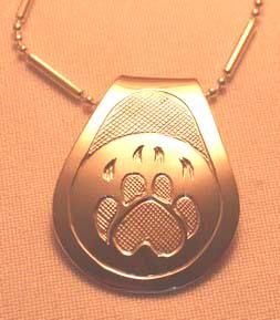 Silver Pendants - Pen27a, Wolf paw teardrop with cross-hatching