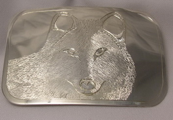 BB5 - Wolf Face -silver engraved wolf