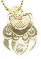 Cast Pendants - PenC22 - Diamond and gold wolf paw