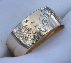 Channel Gem Stone Rings - ChSt20a,b and c - Wolpaws and .03ct diamonds