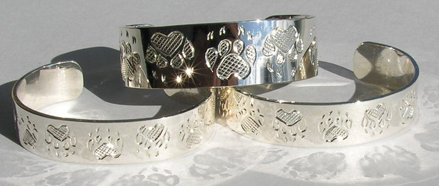 "Baby Bracelets - BB4 - Wolf Paws- 1/2"" and 3/8"" wide silver band"