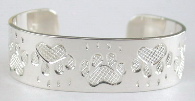 "Baby Bracelets - BB4 - Wolf Paws- 1/2"" wide silver band"