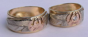 Gem Stone Face Paw Rings - RbfSt24a- Rose gold Wolfpaw, white gold feather on yellow gold base ring with .10ct diamond