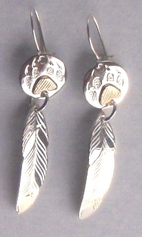 "Feather Earrings - ERn32 -1-7/8"" Feather and Wolfpaws Disc"