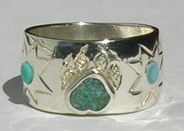 Gem Stone Face Paw Rings - RStpf25 - Wide Band with Wolfpaws , Micmac Star and Turquoise
