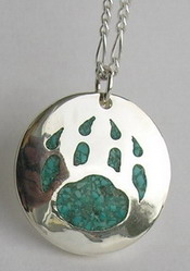 Gem Stoned Pendants - PenSt12 - Appliqued wolf paw with turquoise chips