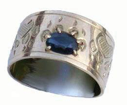 Gold Paws Face Stones Rings - RStpf1 - Wolfpaw with large Blue Sapphire