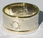4-Direction Gold Rings - 4drg7 - 6mm - medicine Wheel and Sun burst