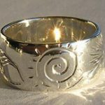 4-Direction Silver Rings - 4DS24e Wolf, Feather, Spiral of Life, Mountains and Sun burst