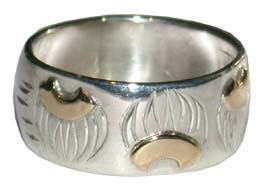 Face - Paw Appliqued Rings - Rap2 - 14k Paws on Silver Wide Band