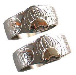 Face - Paw Appliqued Rings - Rap8 - Signet style Oval Bearclaw and Wolfpaw