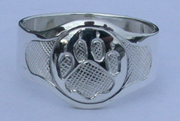 paws face silver rings - Rsp2 - Cougar paw Signet style