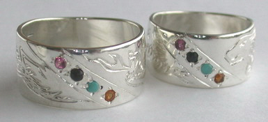 4-Directions Stone Rings - 4DrSt1 - Dragons, Carnelian, Onyx, Tourmaline, Turquoise