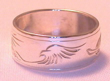 4-Direction Silver Rings - 4DS13a - Eagle, Feather, Grizzly and Mountain