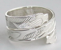Silver bird feather rings - RbfS2 - Triple Eagle head wrap around