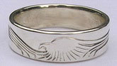 Silver bird feather rings - RbfS8 - Thin band simplified Eagle