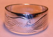 Silver bird feather rings - RbfS1 - Simplified landing Eagle