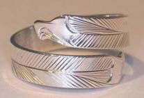 Silver bird feather rings - RbfS4 - Double Eagle head wrap-around