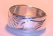 Silver bird feather rings - RbfS7 - Eagle head and Sun