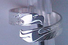 Silver bird feather rings - RbfS21 - WrapRbfS4 - Double Eagle head wrap-around Around double Eagle heads