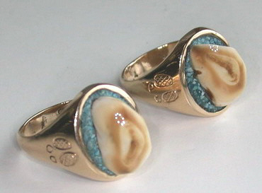 Other Cast Rings - RCas7 - Elk tooth and Turquoise