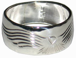 Silver bird feather rings - RbfS9 - Hawk landing