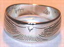 Gold Bird Feathers Rings - Rbfg11a- Flying Falcon in White gold