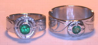 Platinum Rings - PlrSt6 - Feather and Medicine Wheel with 4mm and 3mm Emerald in Platinum