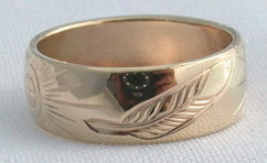 Gold Bird Feathers Rings - Rg15 - Feather, Medicine Wheel, Sun