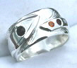 4-Directions Stone Rings - 4DrSt4a silver on silver with Onyx on feather and stem with Citrine,Red Coral and Diamond