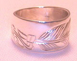 Silver bird feather rings - RbfS12 - Feather with beads