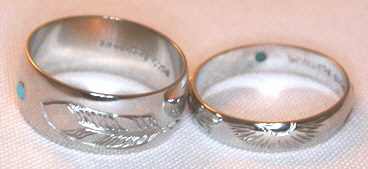 Platinum Rings - PlrSt5 - Sun, Feather and Turquoise in Platinum