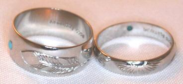 Platinum Rings - PlrSt5 - Sun, Feather and Turquoise in Platinum