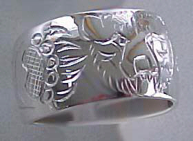 "paws face silver rings - Rsp11 - 1/2"" wide Bear face with 2 Paws"
