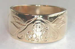 Gold Bird Feathers Rings - Rg19 - Hummingbirds and Flowers