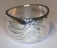 Silver bird feather rings - RbfS16 - Hummingbirds and flowers