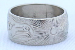 Gold Bird Feathers Rings - Rg21 - Kwakiutl Eagle design by John Henderson, with Sun