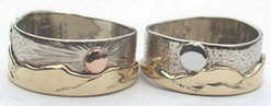 Platinum Rings - Plr6 - Mountain rings - Yellow and white Gold with Platinum sun and Rose Gold Moon