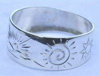 4-Direction Silver Rings - 4DS24a - Mountains, Spiral of Life, Sun, 8 pointed Sioux Star and Wolf head