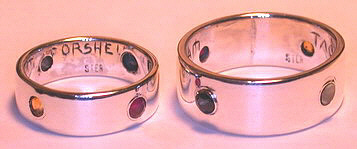 4-Directions Stone Rings - 4DrSt7 - Bezel set Ruby, Sapphire, Citrine and Mother of Pearl