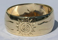 """Gold Engraved Rings - Rg25d- 14k gold in 3/8"""" width and 1/2"""" width"""