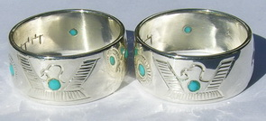 4-Directions Stone Rings - 4DrSt2h in silver with 2mm turquoise stones