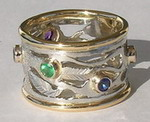 Wedding Rings - PlrSt1 - Family Tree ring with 2mm stones in Platinum and gold ribs Sapphire Emerald Topaz Amethyst AquaMarine
