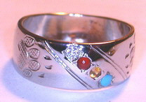 4-Directions Stone Rings - Channel 4Directions Medicine Wheel -ChSt11a - Bearclaws, Turquoise, Coral, Citrine and Diamond with Wolf paws and Bearclaw version with Turquoise replacing Onyx