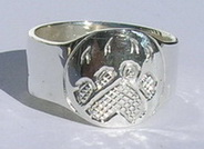 Wolfpaw Signet in silver engraved ring