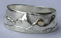 MnrCus55b - Grand Teton Mountains Silver on silver with gold sun