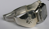 watches - Wolfpaw cut-out in silver - side bands