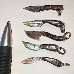 "Small knives - ( 1"" to 1-1/2"" ) Silver with copper or brass molded with Kokobolo and Ironwood Handles"